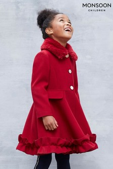 Monsoon Red Ruffle Hem Coat