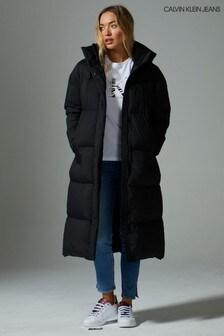 Calvin Klein Jeans Eco Lange, wattierte Daunenjacke, Schwarz