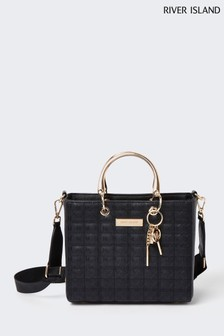 River Island Black Med Monogram Ken Tote Bag