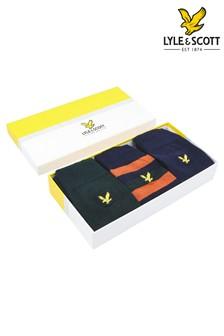 Lyle & Scot Peacoat/Pine Grove Stripe Socks 3 Pack Gift Box
