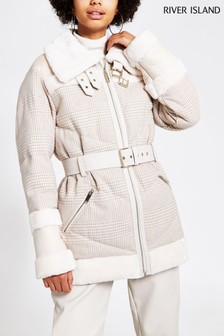 River Island Cream Woven Check Karina Hybrid Jacket