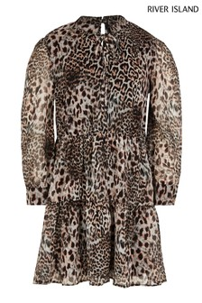 River Island Beige Leopard Print Tiered Dress