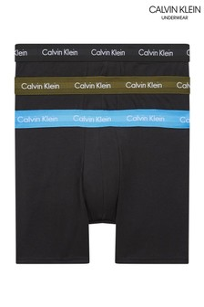 Lot de 3 boxers en coton stretch Calvin Klein bleus