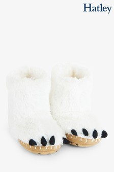 Hatley Kids White Polar Bear Paws Slippers