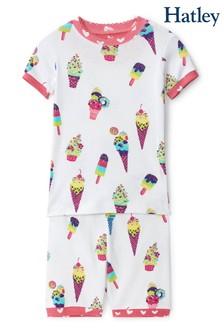 Hatley White Ice Cream Cones Organic Cotton Short Pyjama Set
