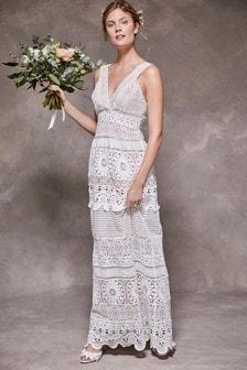 Свадебное платье ажурной вязки