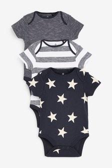 3 Pack Star Short Sleeve Bodysuits (0mths-3yrs)