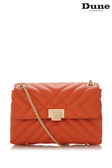 Dune London Orange Dorchester Small Quilted Shoulder Bag