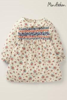 Boden Nostalgic Gesmoktes Kleid, Elfenbein