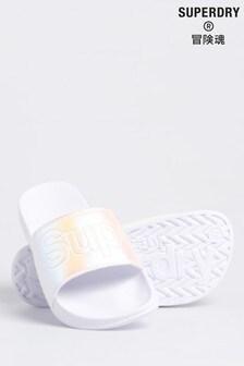 Superdry White Metallic Sliders