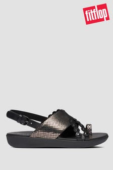 FitFlop™ Black Scallop Exotic Leather Back Strap Sandals