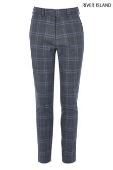 River Island Blue Medium Check Slim Trousers