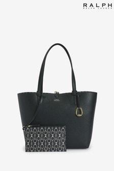 Ralph Lauren Black Reversible Vegan Leather 2-In-1 Tote Bag