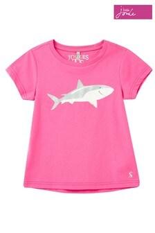 Joules - Roze Pixie Screenprint T-shirt met haaienprint