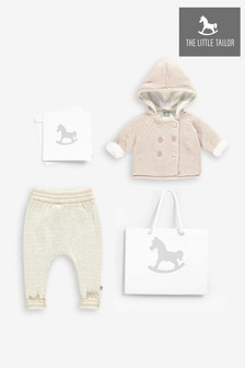 The Little Tailor Pink Knitted Pram Coat And Knitted Pants Gift Set