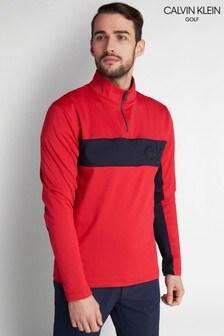 Calvin Klein Golf レッド エンボスハーフジップ トップス