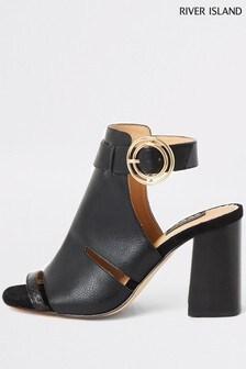 Pantofi gheată cu decupaj lateral River Island negri