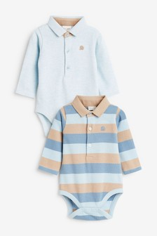 2 Pack Stripe Polo Bodysuits (0mths-2yrs)