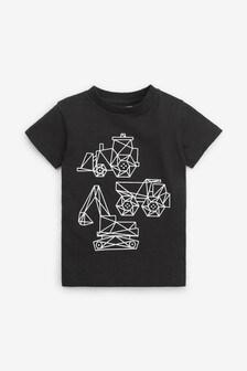 T-shirt motif pelleteuse à manches courtes (3 mois - 7 ans)