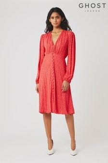 Ghost London Estelle Crêpe-Kleid mit Herz-Print, Rot