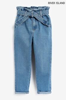 River Island牛仔中度水洗束腰綁帶款牛仔褲