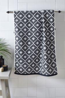 Handdoek met ruitvormige geometrische print