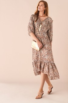 Long Sleeve Tiered Tie Front Dress