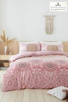 Pineapple Elephant Blush Menara Duvet Cover and Pillowcase Set