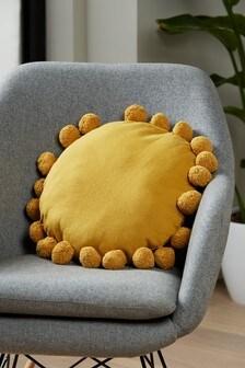 Ochre Yellow Pom Pom Edge Circle Cushion