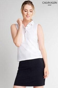 قميص بولو رياضي قطن أبيض بدون كم منCalvin Klein Golf