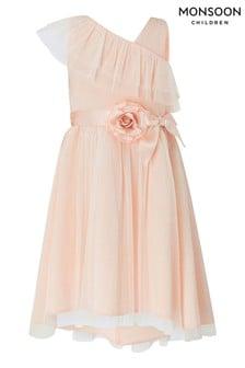 Monsoon Bella Peach One Shoulder Dress