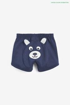 Pantaloni scurți cu imprimeu urs Benetton bleumarin