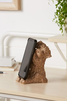 Brown Charlie The Cockapoo Dog Phone Holder