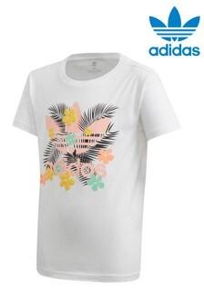 adidas Originals White Tropical Graphic T-Shirt