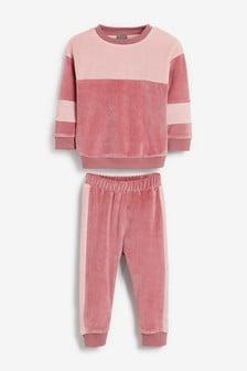 Велюровые свитшот и спортивные брюки в стиле колор-блок (3 мес.-7 лет)