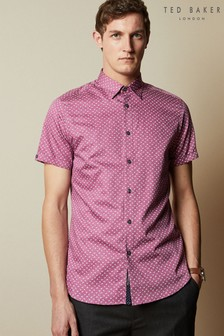 Ted Baker Purple Short Sleeve Floral Print Shirt