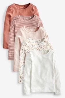 מארז של 5 חולצות פרחוניות עם שרוולים ארוכים (גילאי 3 עד 16)