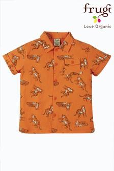 Miękka dżersejowa koszula Frugi z bawełny organicznej — pomarańczowe tygrysy