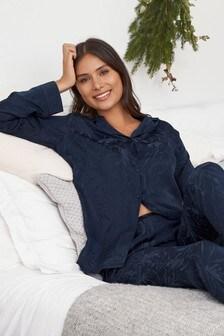 Pijamale din satin și jacquard cu nasturi și model floral
