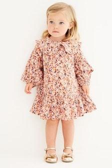 فستان مطبوع بياقة خفيفة (3 شهور -7 سنوات)