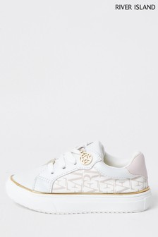 River Island White Nylon Logo Lace-Up Shoes