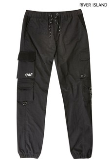River Island Black Nylon Multi Pocket Joggers