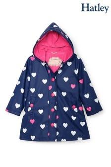 Синяя водоотталкивающая куртка с меняющим цвет принтом сердечек Hatley