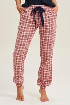 Розовые жаккардовые брюки с манжетами и цветочной отделкой FatFace