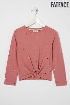 FatFace Pink Star Print Knot T-Shirt
