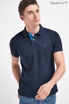 Рубашка поло с коротким рукавом и контрастным воротником GANT