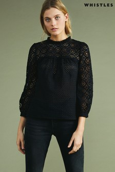 Whistles Black Sara Mixed Broderie Top