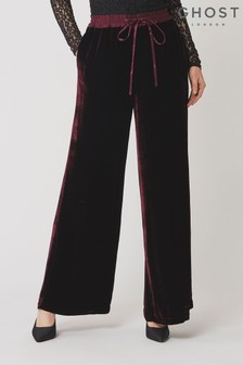 Ghost London Red Lilly Dark Burgundy Velvet Trousers