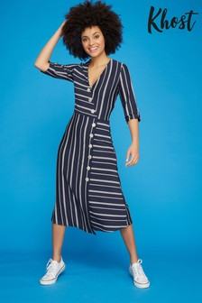 Khost Blue Stripe Wrap Dress