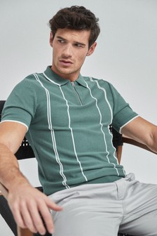 Striped Cotton Short Sleeve Zip Neck Polo